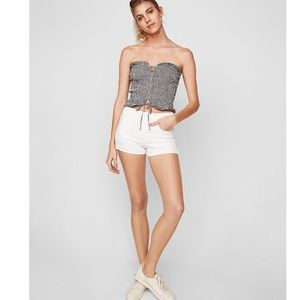 Mid rise white denim shorts by Express